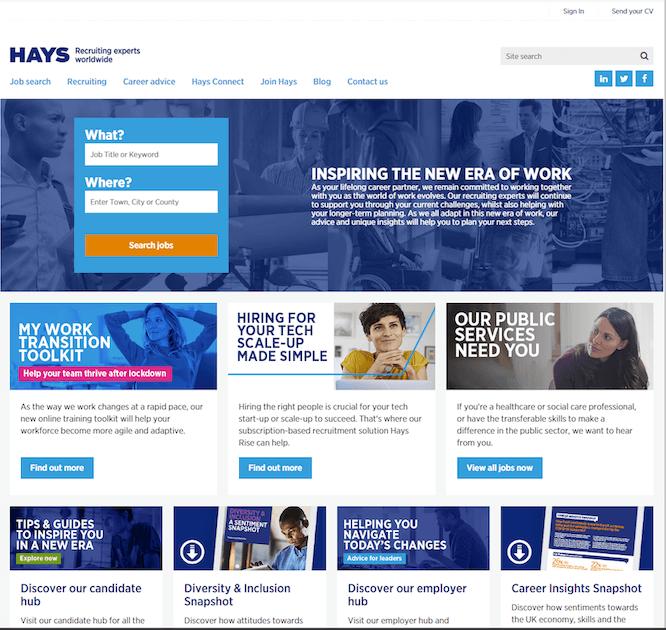 ヘイズ社の公開Webサイトインターフェイス